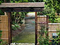 Another view of Japanese style wooden gate